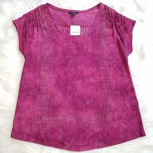 [Lucky Brand] NWT Short Sleeve Boho Top